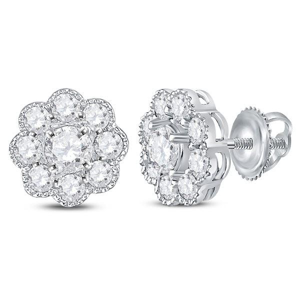 Round Diamond Flower Cluster Stud Earrings 1 Cttw 14KT White Gold