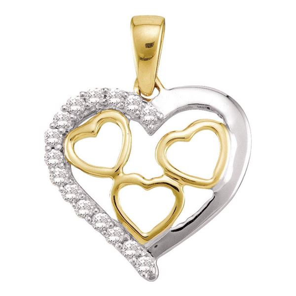 Round Diamond Two-tone Nested Heart Pendant 1/5 Cttw 10KT Yellow Gold