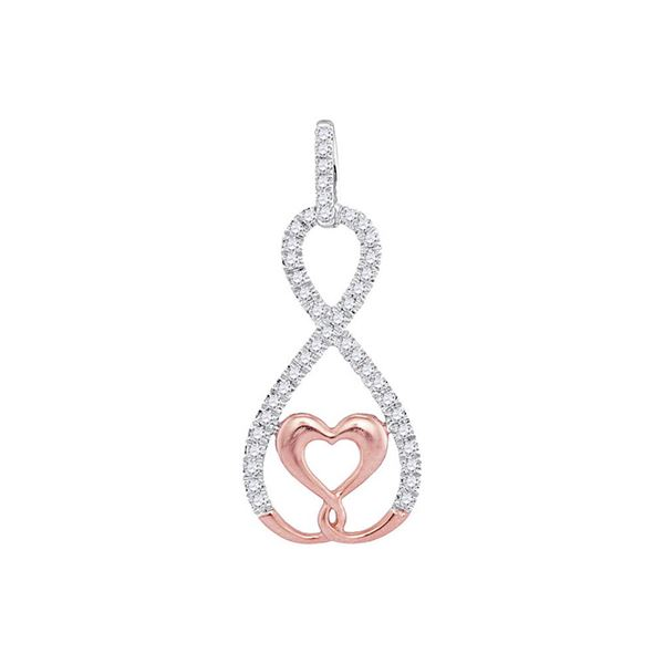 Round Diamond Heart Infinity Pendant 1/8 Cttw 10KT Two-tone Gold