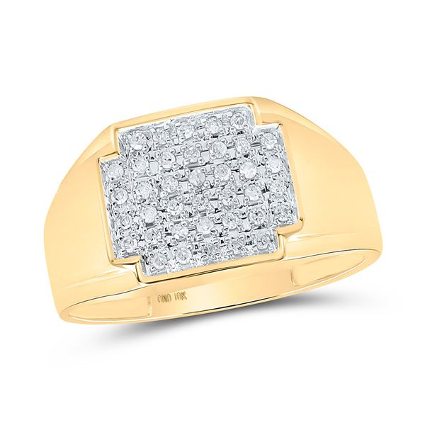 Round Diamond Square Cluster Ring 1/4 Cttw 10KT Yellow Gold