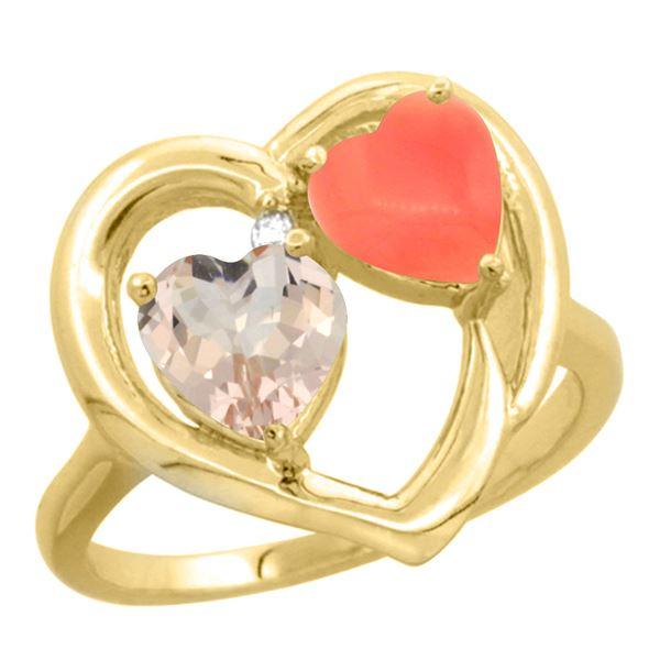 0.61 CTW Morganite & Diamond Ring 10K Yellow Gold - REF-26H2M