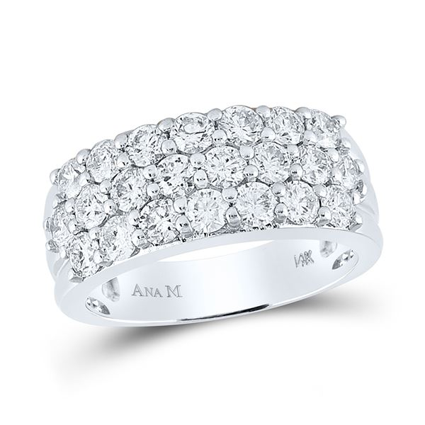 Round Diamond Triple Row Pave Band Ring 2 Cttw 14KT White Gold