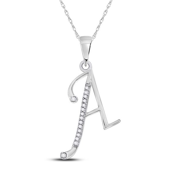 Round Diamond A Initial Letter Pendant 1/12 Cttw 10KT White Gold