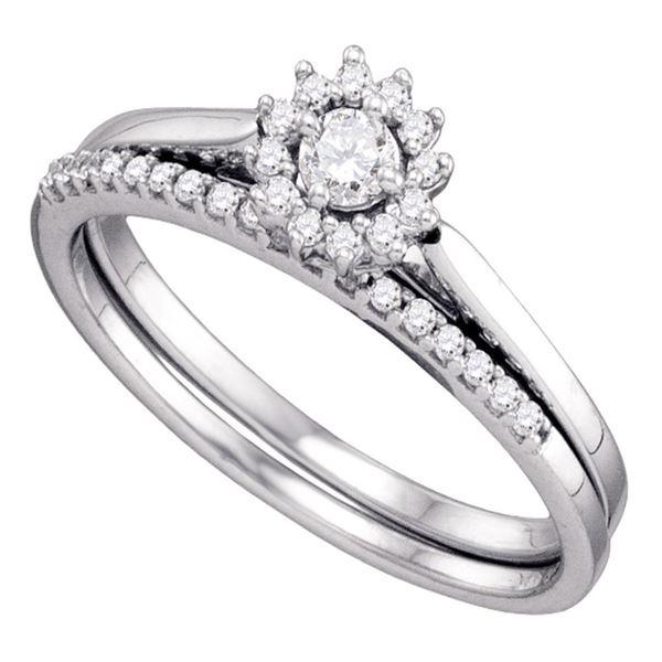 Diamond Halo Wedding Bridal Ring Set 1/4 Cttw 10KT White Gold