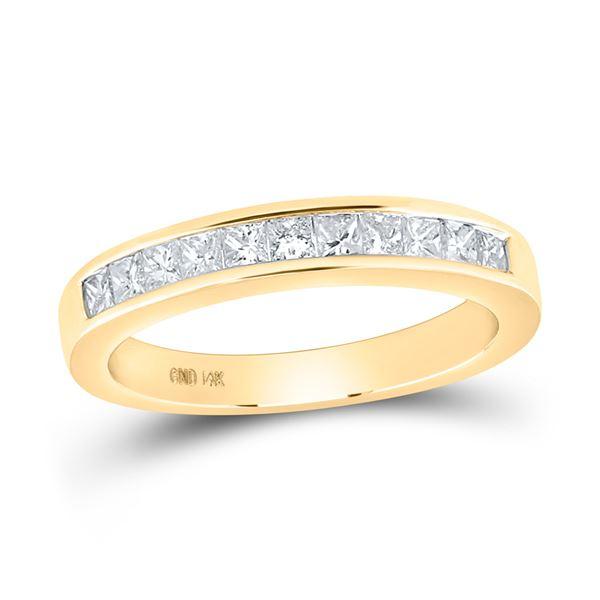Princess Diamond Wedding Single Row Band 1/2 Cttw 14KT Yellow Gold
