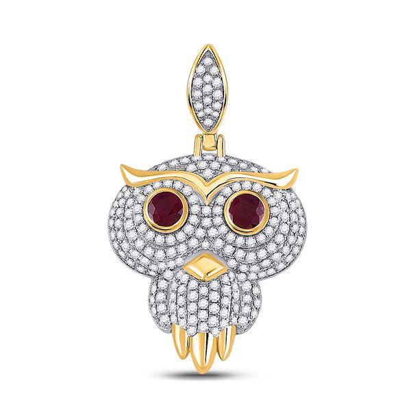 Round Ruby Diamond Owl Bird Charm Pendant 2-5/8 Cttw 14KT Yellow Gold