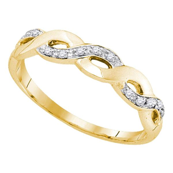 Round Diamond Woven Twist Band Ring 1/12 Cttw 10KT Yellow Gold