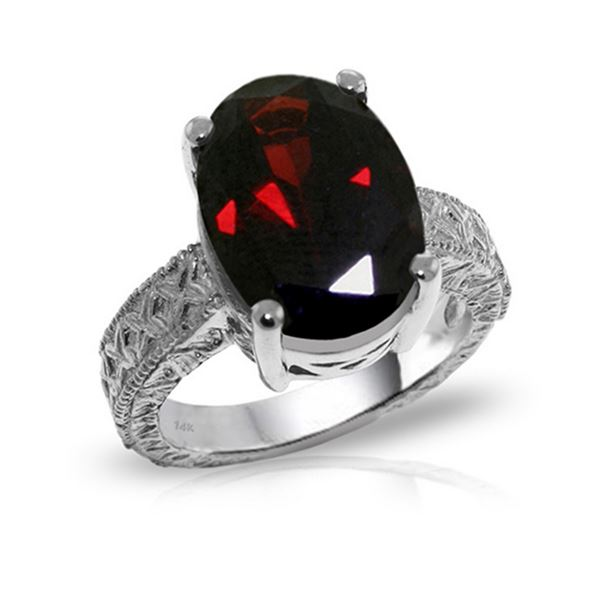Genuine 6 ctw Garnet Ring 14KT White Gold - REF-129K6V