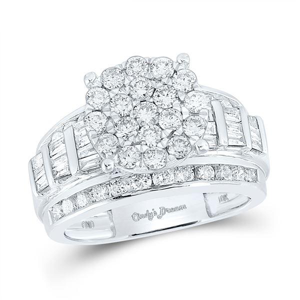 Diamond Cluster Bridal Wedding Engagement Ring 2 Cttw 10KT White Gold