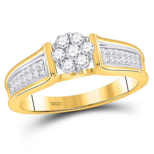 Round Diamond Flower Cluster Ring 1/2 Cttw 14KT Yellow Gold