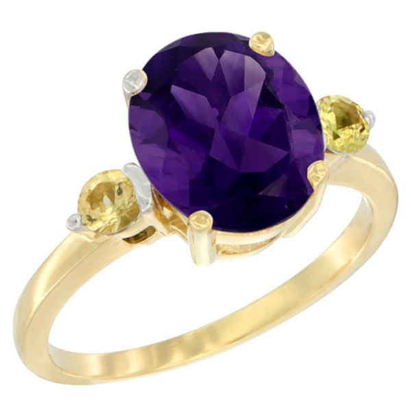 2.64 CTW Amethyst & Yellow Sapphire Ring 14K Yellow Gold - REF-32Y3V