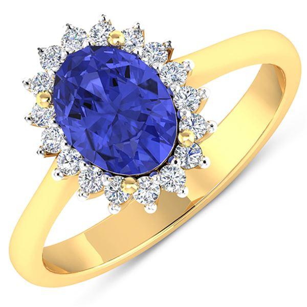 Natural 1.82 CTW Tanzanite & Diamond Ring 14K Yellow Gold - REF-60W3X