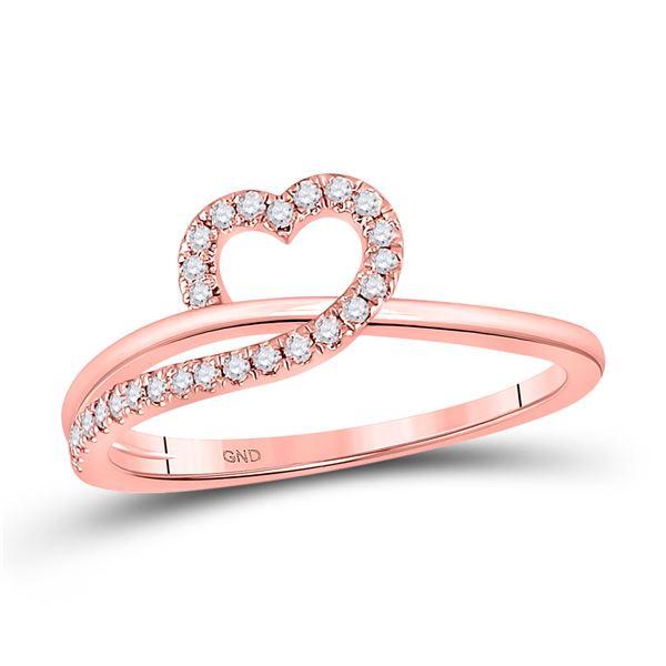 Round Diamond Heart Ring 1/6 Cttw 10KT Rose Gold