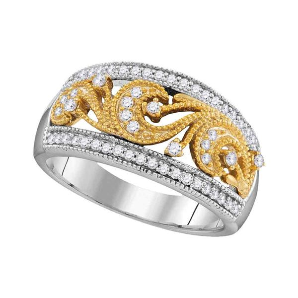 Round Diamond 2-tone Filigree Band Ring 1/3 Cttw 10KT Two-tone Gold