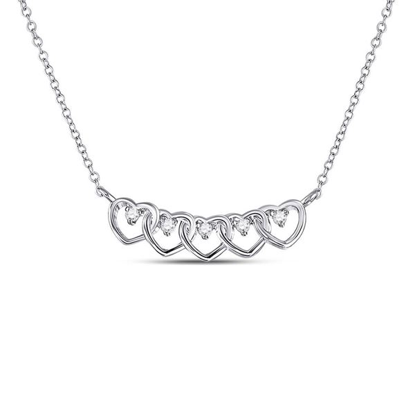 Round Diamond Heart Necklace 1/20 Cttw 14KT White Gold