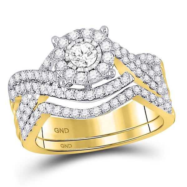 Diamond Contoured Bridal Wedding Ring Band Set 1 Cttw 10KT Yellow Gold