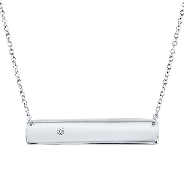 Round Diamond Rectangle Bar Necklace .02 Cttw 10KT White Gold
