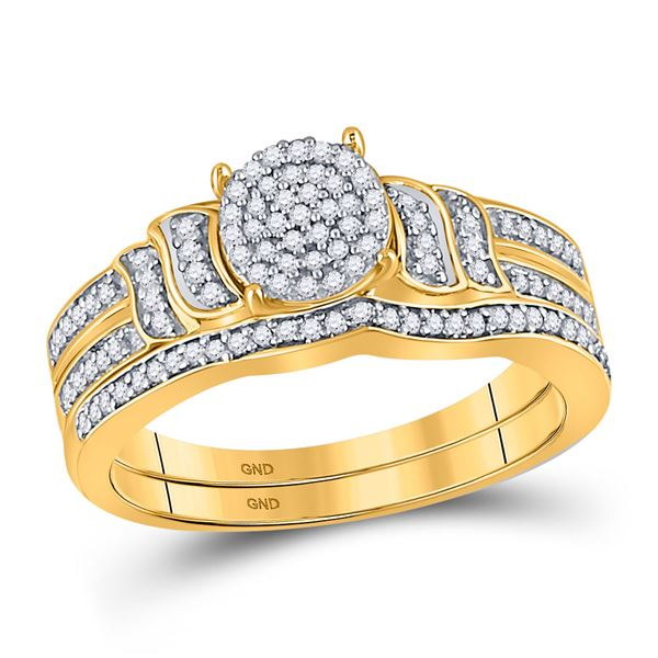 Diamond Bridal Wedding Ring Band Set 1/4 Cttw 10KT Yellow Gold