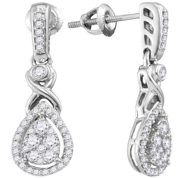 Round Diamond Teardrop Cluster Dangle Earrings 1/2 Cttw 10KT White Gold