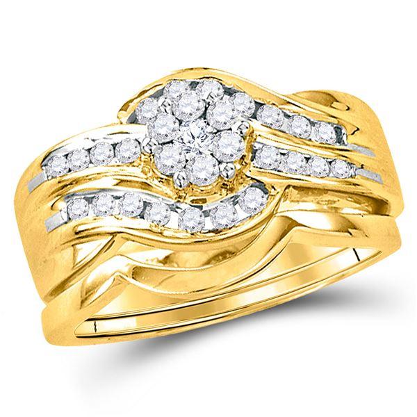 Diamond Bridal Wedding Ring Band Set 1/2 Cttw 14KT Yellow Gold