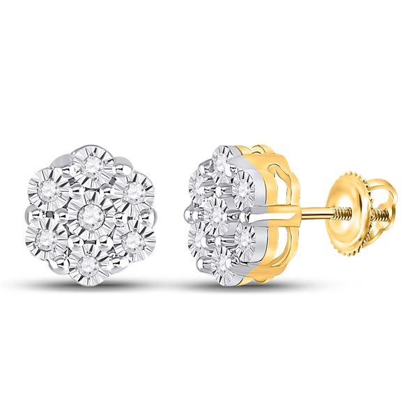 Round Diamond Flower Cluster Earrings 1/10 Cttw 10KT Yellow Gold