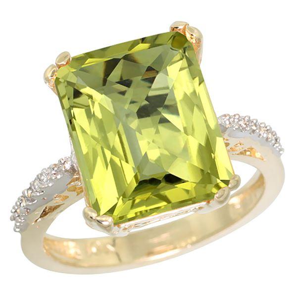 5.52 CTW Lemon Quartz & Diamond Ring 14K Yellow Gold - REF-52M7A