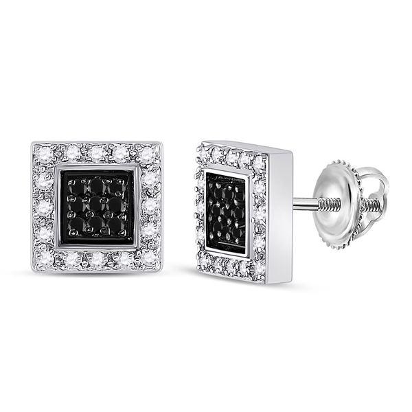 Round Black Color Enhanced Diamond Square Earrings 1/2 Cttw 14KT White Gold