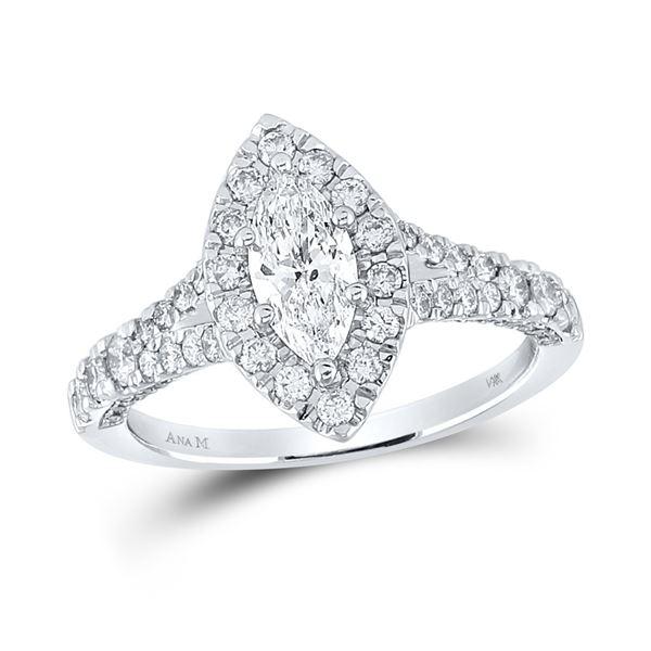 Halo Bridal Wedding Engagement Ring 1-1/4 Cttw 14KT White Gold