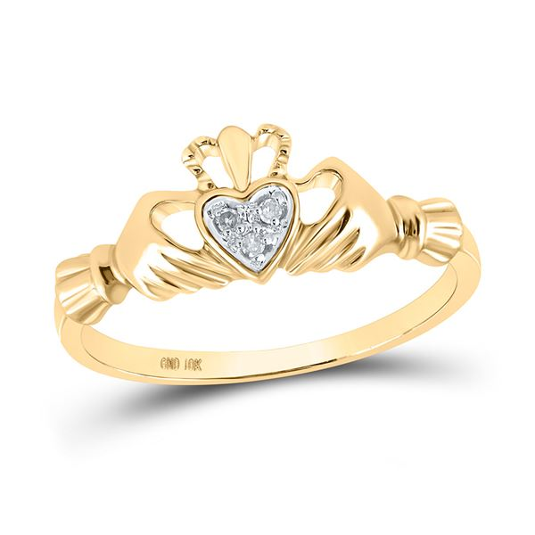 Round Diamond Claddagh Heart Ring .02 Cttw 10KT Yellow Gold