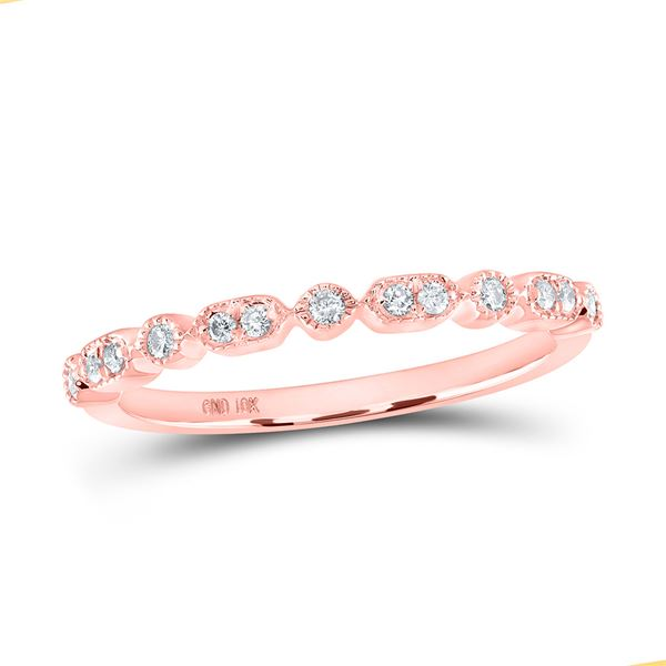 Round Diamond Stackable Band Ring 1/8 Cttw 10KT Rose Gold