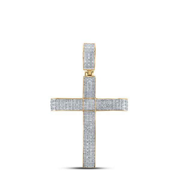 Round Diamond Cross Charm Pendant 1/2 Cttw 10KT Yellow Gold