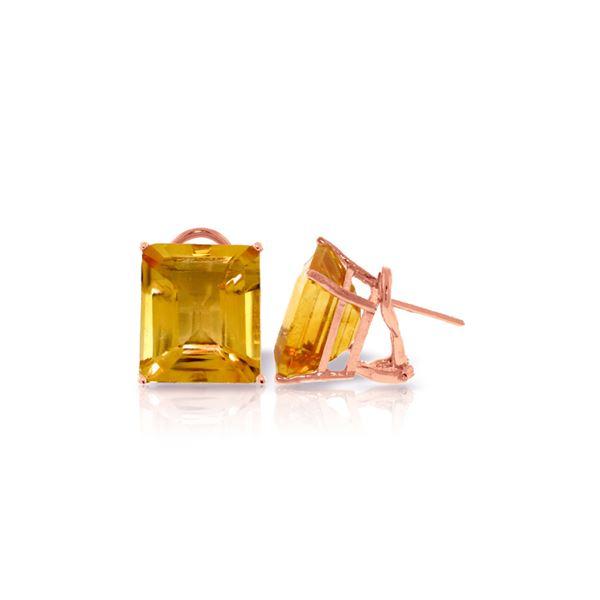 Genuine 13 ctw Citrine Earrings 14KT Rose Gold - REF-53A2K