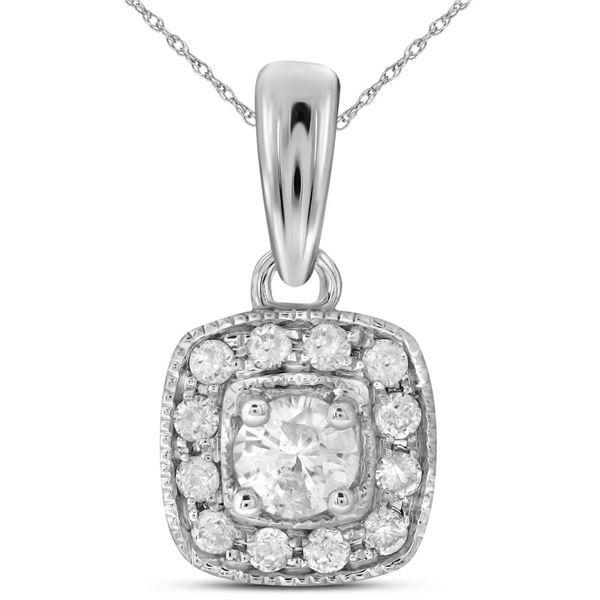 Round Diamond Solitaire Square Halo Pendant 1/4 Cttw 14KT White Gold