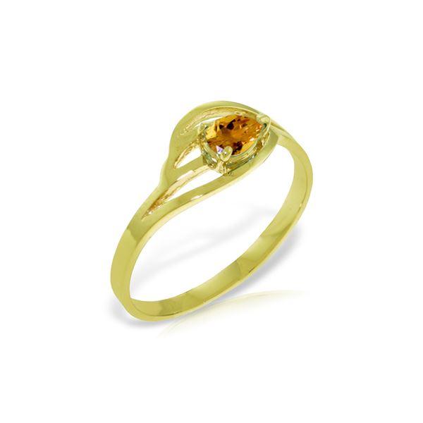 Genuine 0.30 CTW Citrine Ring 14KT Yellow Gold - REF-30K5V