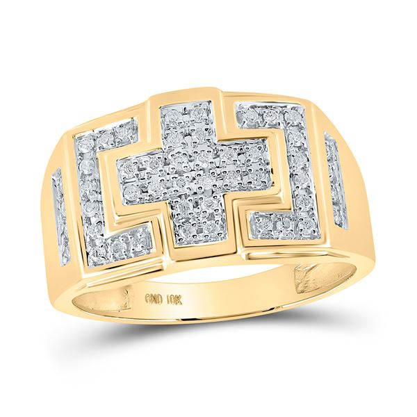 Round Diamond Cross Cluster Ring 1/3 Cttw 10KT Yellow Gold
