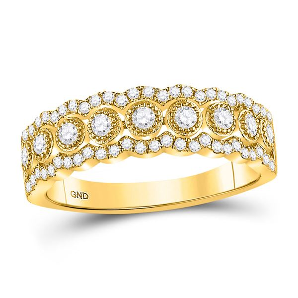 Round Diamond Triple Row Vintage-inspired Band Ring 1/3 Cttw 10KT Yellow Gold