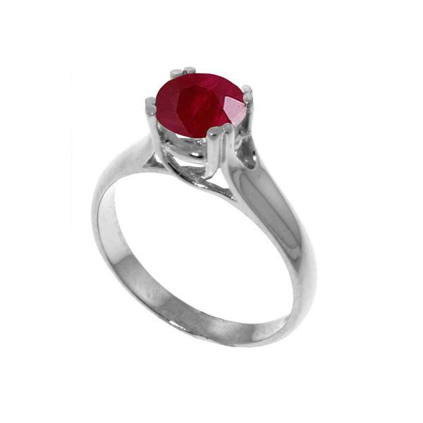 Genuine 1.35 ctw Ruby Ring 14KT White Gold - REF-61Z2N