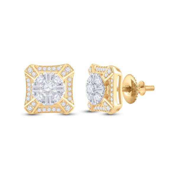 Baguette Diamond Square Cluster Earrings 3/4 Cttw 14KT Yellow Gold