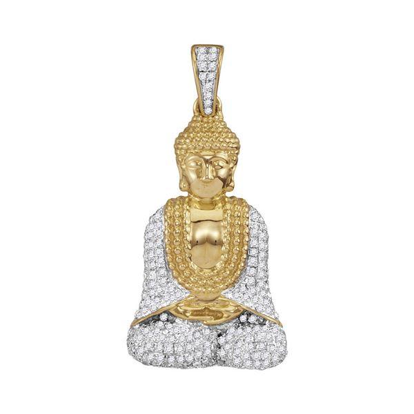 Round Diamond Gautama Buddha Charm Pendant 1/2 Cttw 10KT Yellow Gold