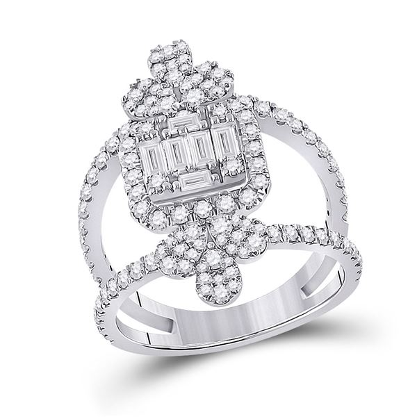 Round Diamond Negative Space Cluster Fashion Ring 1-1/2 Cttw 14KT White Gold