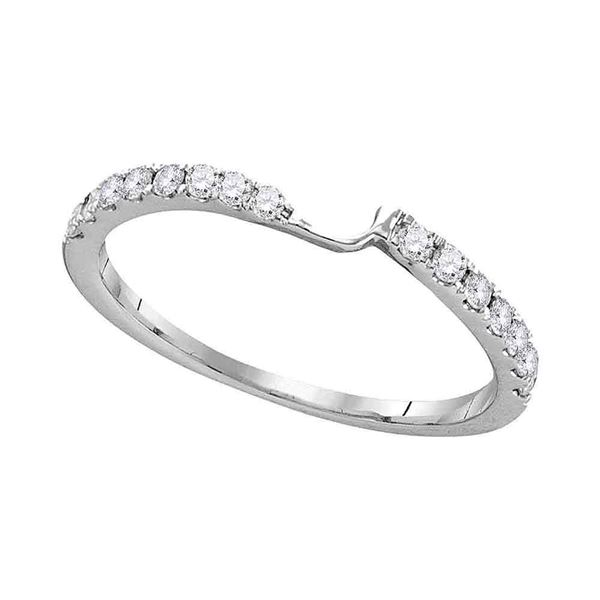 Round Diamond 2-stone Wedding Band 1/4 Cttw 14KT White Gold