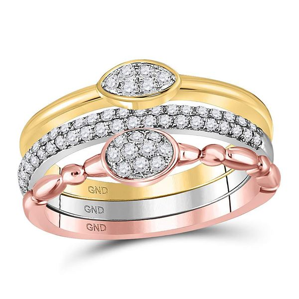 Round Diamond 3-Piece Stackable Band Ring Set 1/2 Cttw 10KT Tri-Tone Gold
