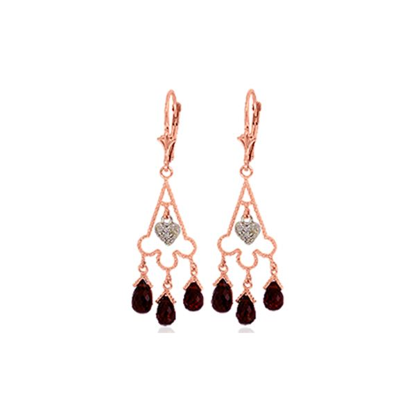 Genuine 6.33 ctw Garnet & Diamond Earrings 14KT Rose Gold - REF-52T3A