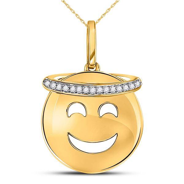 Round Diamond Smiley Face Halo Emoji Pendant 1/20 Cttw 10KT Yellow Gold