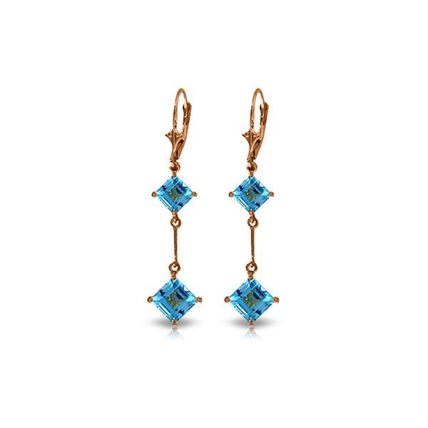 Genuine 3.75 ctw Blue Topaz Earrings 14KT Rose Gold - REF-30F6Z