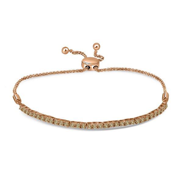 Round Brown Diamond Single Row Bolo Bracelet 2 Cttw 10KT Yellow Gold