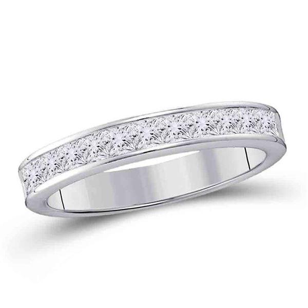 Princess Diamond Wedding Band 1/4 Cttw 14KT White Gold
