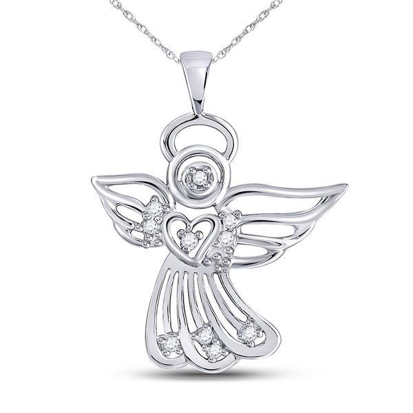 Round Diamond Guardian Angel Pendant 1/10 Cttw 10KT White Gold