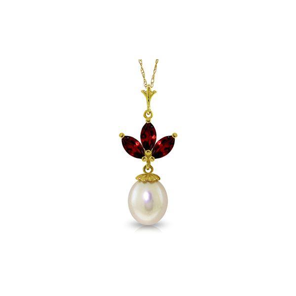 Genuine 4.75 ctw Garnet & Pearl Necklace 14KT Yellow Gold - REF-24W3Y