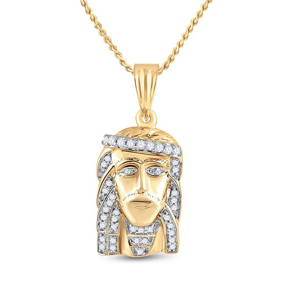 Round Diamond Jesus Face Charm Pendant 1/3 Cttw 10KT Yellow Gold